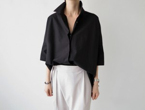 [The day of shipment; deumil Shirt - Black main door Breadth 15th week of the season reorder restocking M, L size selectable