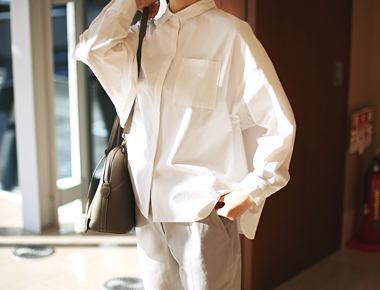 [Shipped the same day] log Shirt - white material, sewing, detail, good ~ Thank You Note the main door Breadth