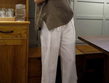 [Shipped the same day] Darrell Linen Wide Pants (White) Asa lining restocking season