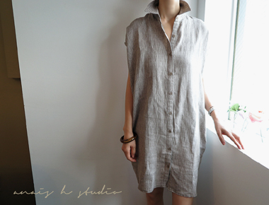 [Shipped the same day] Lauren long shirt One Piece - Khaki