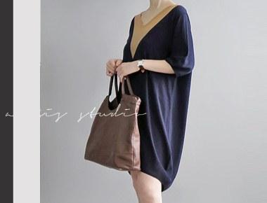 Navy Third spell of runaway reorder - day shipment] v line Knit Dress