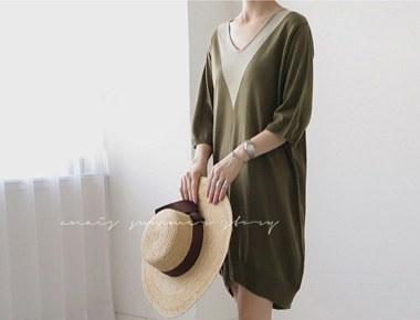 [Shipped the same day] v line Knit Dress - Khaki