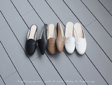 Back open leather mules -3c