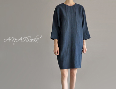 Rojyan Linen One Piece (Navy)