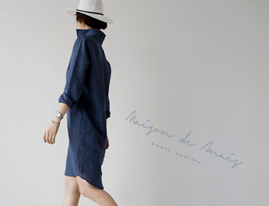 [Shipped the same day] One Piece- Southern Chloe President Linen Long Dark Blue Season main door Breadth shares in stock