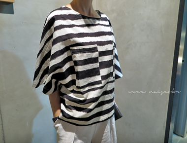 [Shipped the same day] Stripe Two Pocket Loose Top