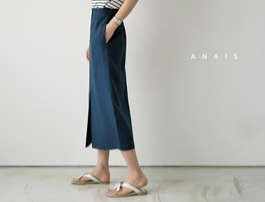 [Shipped the same day] Beth turquoise Navy Linen Rong skirt-
