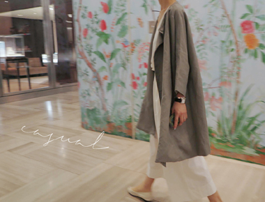 [Day shipment] A-line coat Linen main door Breadth weeks Add color