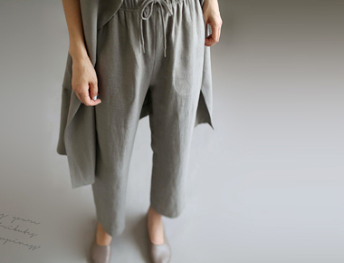 [Shipped the same day] El Linen Pants- Khaki gray