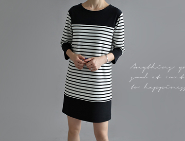 [Day shipment] I'm James Stripe Dress - Product ganjeolgi