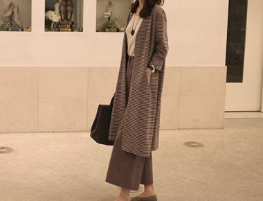 [Shipped the same day] Margaret Stripe Long cardigan - Beige
