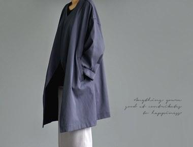 [Shipped the same day] double stitch Park Sihoo coat - dark grey