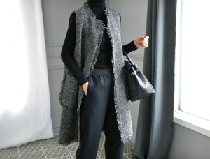 [Day shipment] Le Tweed Best Long falling moderately powerfully refined and luxurious atmosphere