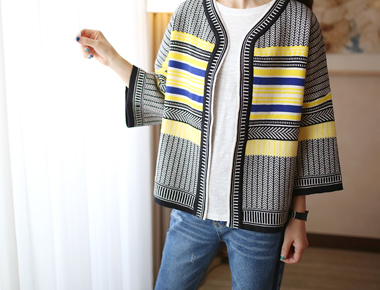 [Shipped the same day] Chloe jyagadeu Cardigan - 2ccolor combination over beautiful yo ~ ~ style deuryeoyo jewel in Spring outerwear prepare a good price ~
