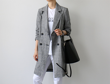 [Same day delivery] linen check fix long jacket
