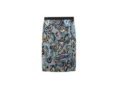 F paisley sk A sleek line of H-line Skirt with vivid color