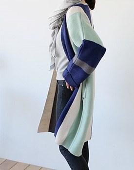 Megin Height Stripe Long cardigan - 2c