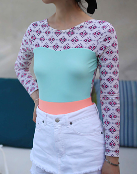 Print Mint color combination Rash Guards