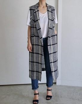 [Same-Day Shipping] Linen Check Long Best Door Door Breadth Co.