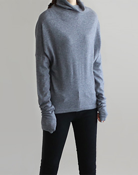 [Day shipment] I Soft Wool knitted top, black, stylish, long-added material to Gray comfortably fit one ^^