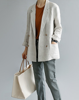 French Linen double jacket General Linen material Anodore ~ ​​It is expensive and rare material ~