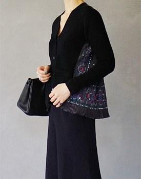 Pleats Knit Cardigan