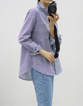 Ros stripe shirt - 2c Knit and cardigans are good for coordinating Stripe is always true ^^