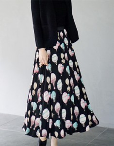 Balloon Pleats Long skirt If you match up with skirt leggings, winter until winter ~ ^ ^