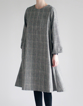 Alley onepiece Glen Check Material feminine wool dress