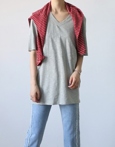 V-neck Long Tee - 3c Peppyu same day shipping to wear comfortable style season